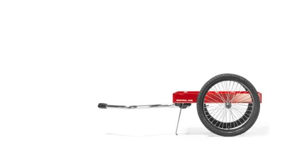 fahrradanhänger fahrrad stehend rot