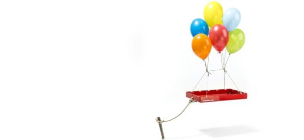 fahrradanhänger rot leicht ballons