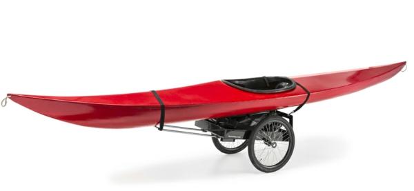 fahrradanhänger schwarzes gestell rotes kanu