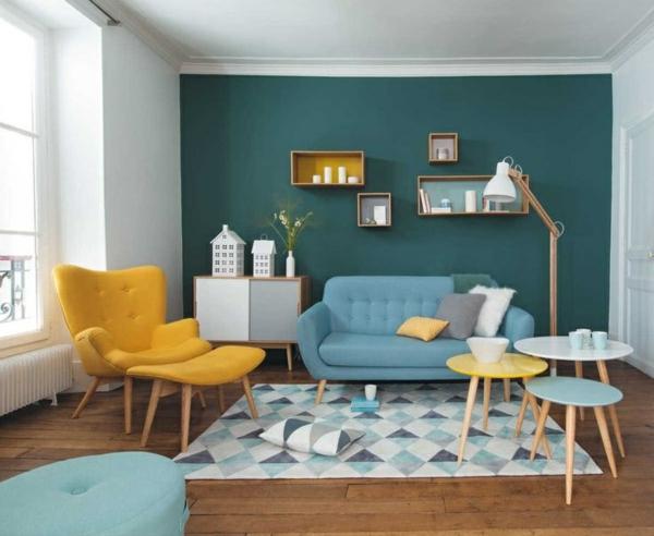 farbgestaltung wohnzimmer wandfarbe grün gewagte farbmischung