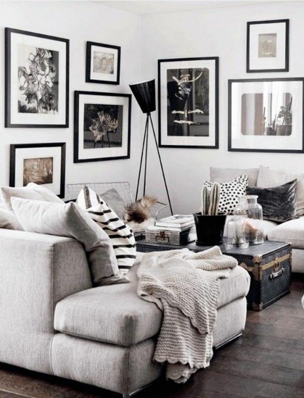farbgestaltung wohnzimmer wandfarbe grau wandgestaltung mit bildern schwarz weiß