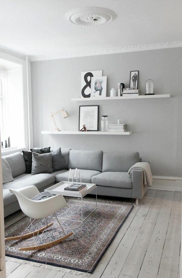 Farbgestaltung Wohnzimmer Wandfarbe Grau Wohnzimmerwand Ideen