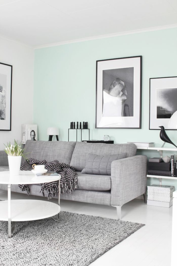 wohnzimmer couch grau:wohnzimmer sofa grau : wandfarbe minzgrün wohnzimmer sofa grau