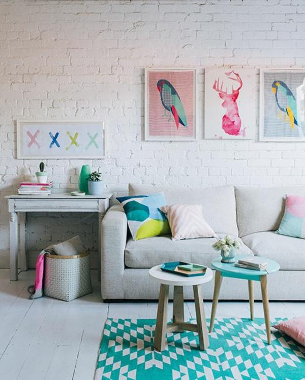 Farbgestaltung Wohnzimmer Wandfarbe Weiss Ziegelwand Wanddeko Ideen