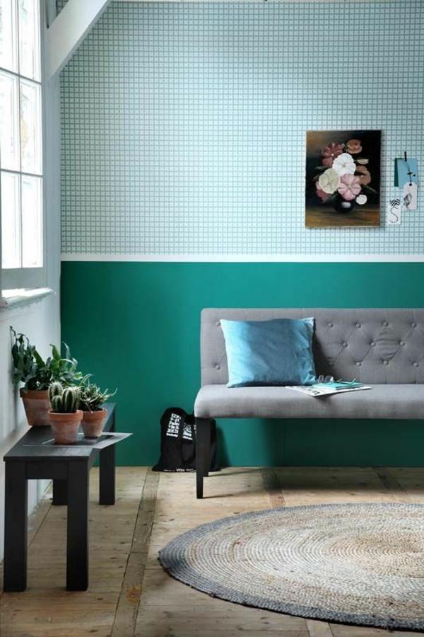 farbgestaltung wohnzimmer wandfarben gestalten wandfarbe türkis kontrast