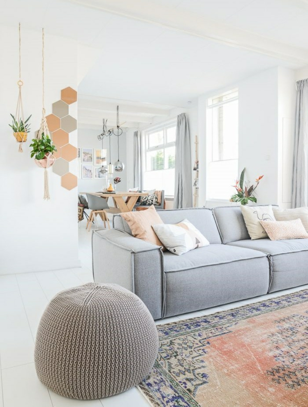 farbgestaltung wohnzimmer weiß grau wandgestaltung ideen