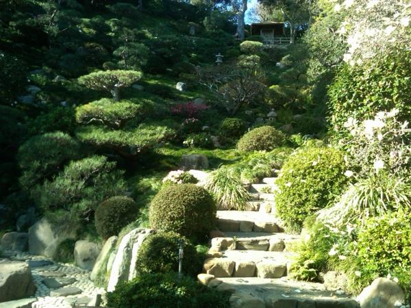 feng shui garten nadelbäume treppe