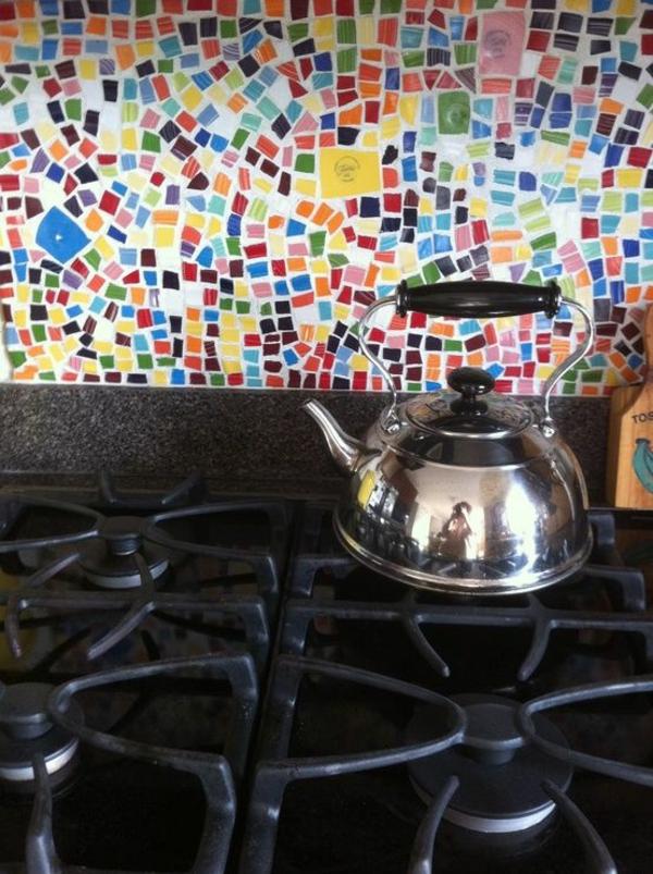 Fliesenspiegel Küche Gasplatten Kochfeld Küchenrückwand Ideen Mosaikfliesen  Bunt