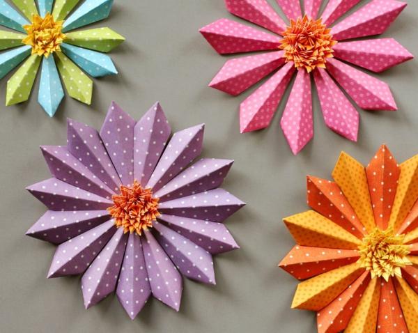 frühlingsblumen basteln diy papier verwenden