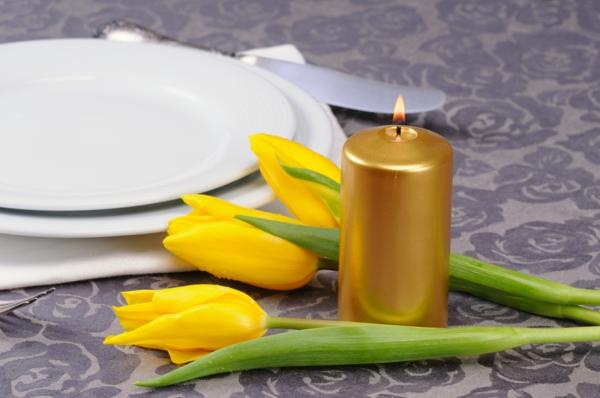 frühlingsblumen basteln gelbe tulpen kerze
