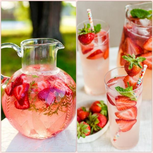 frühlingsrezepte erfrischungsgertänk mit erdbeeren