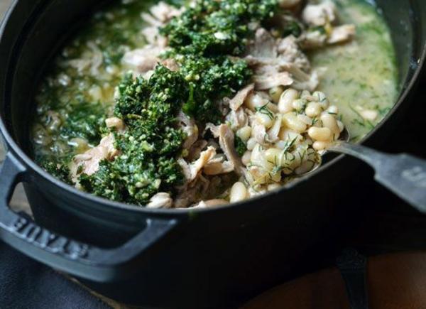 frühlingsrezepte fleischgerichte hähnchen mit zitronensauce bohnen pesto