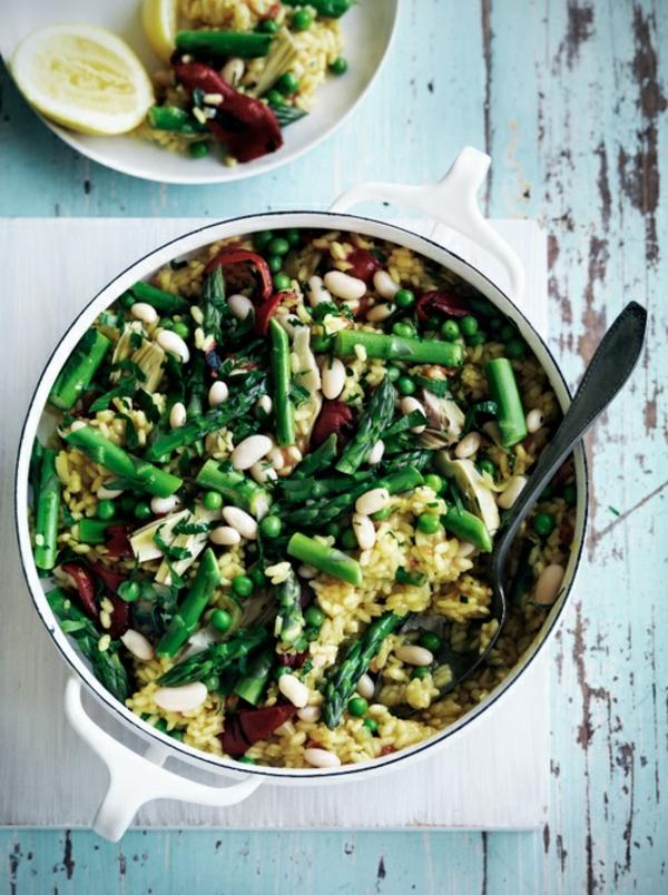 frühlingsrezepte vegetarische gerichte gemüsepfanne paelle