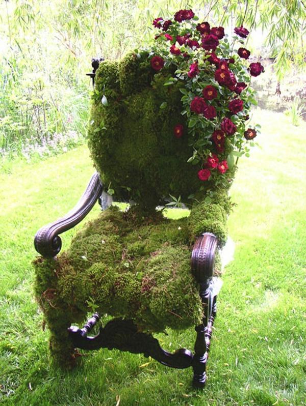 garten dekorieren grüner stuhl blumen