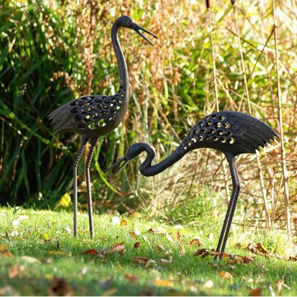gartenfiguren gartenskulpuren vögel paar fischreiher