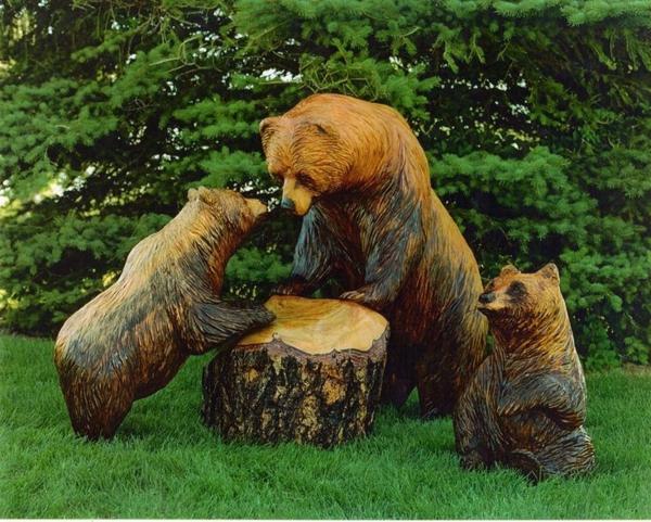 holzfiguren bären garten dekoideen exterieur