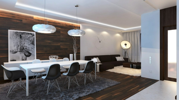 Holzpaneele Esszimmer Wandgestaltung Grauer Teppich