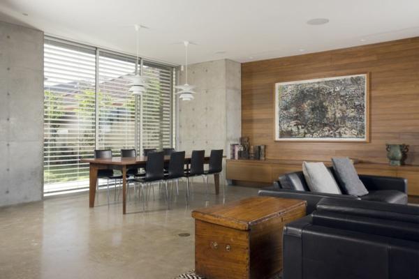 holzpaneele stilvolles wohnzimmer esszimmer offener wohnplan