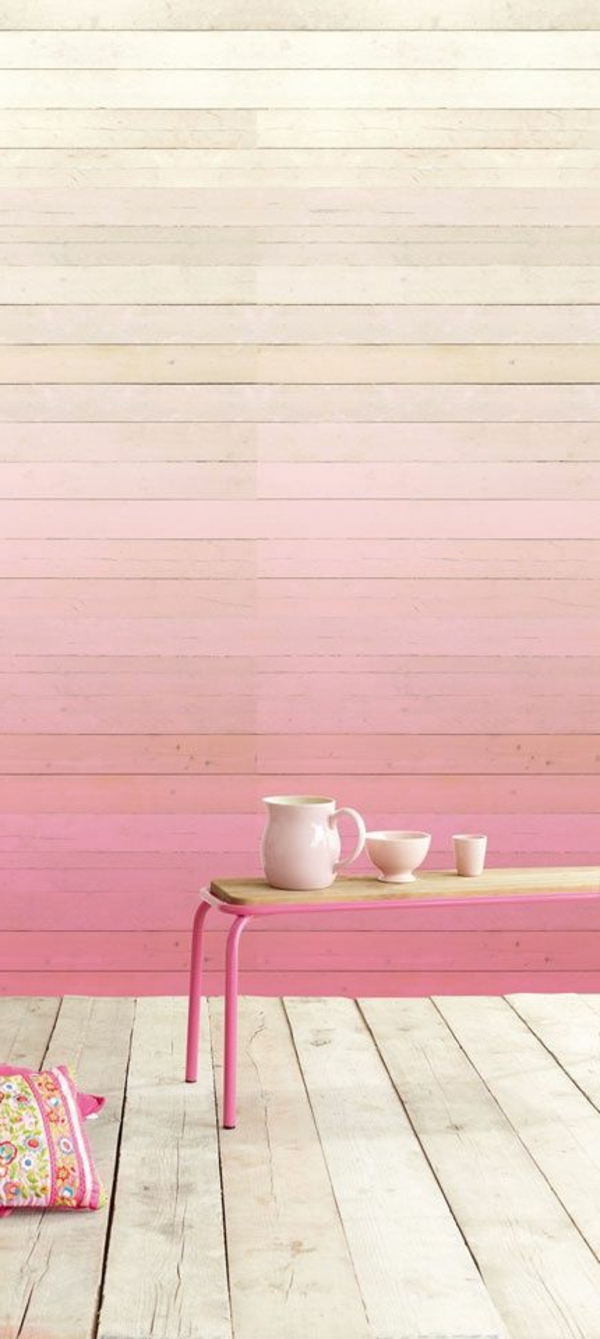 holzpaneele wandgestaltung ombre effekt holzboden
