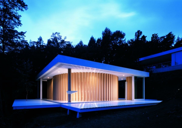 japanische architektur modernes haus nachts