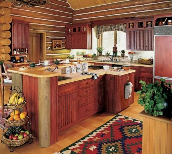küche gestalten naturlook farbiger teppichläufer kutze gardinen