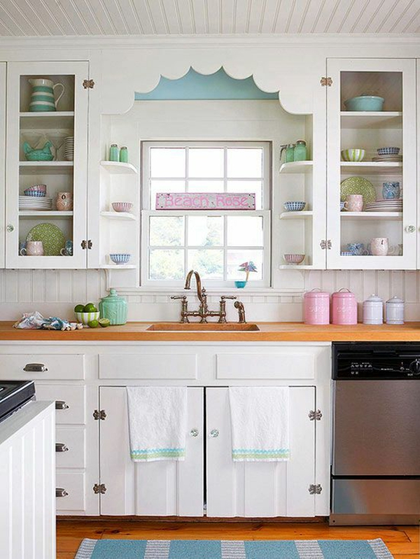 küche gestalten vintage stil teppichläufer