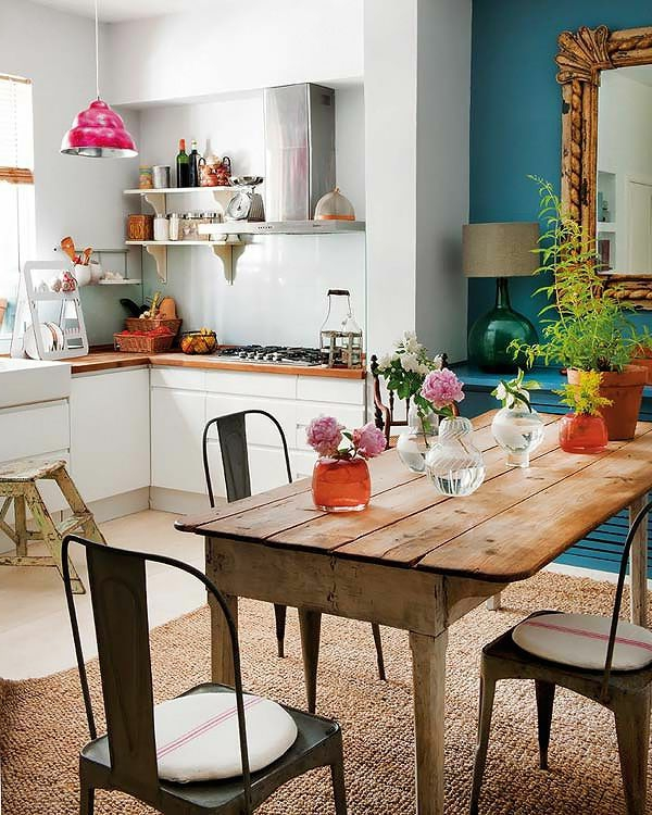 küche schöne wohnideen sisalteppich country stil