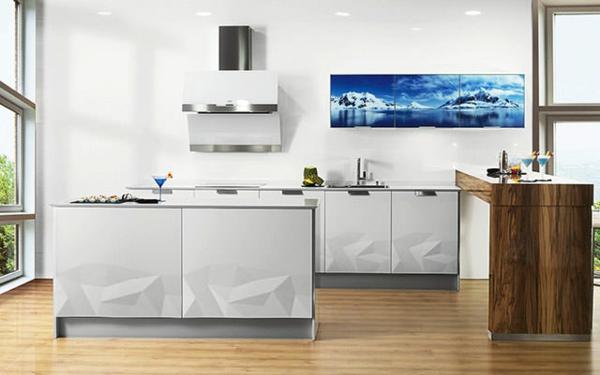 küchendesign artika küche weiße küchenschränke wandbild