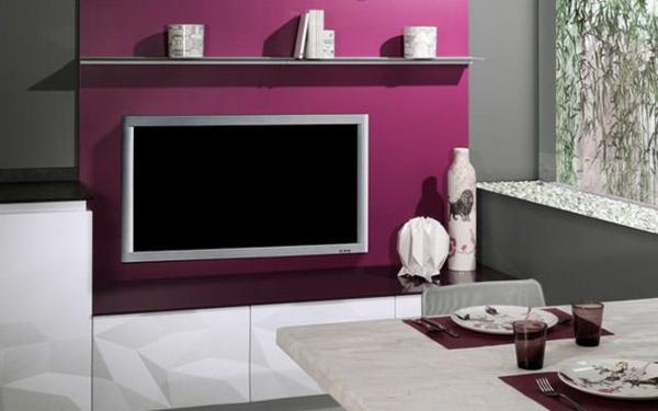 küchendesign esstisch lila wand fernseher 3D oberfläche