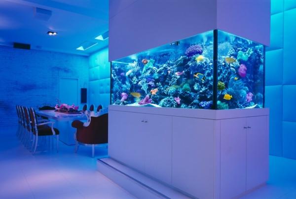 küchendesign esszimmertisch aquarium ziegelwand