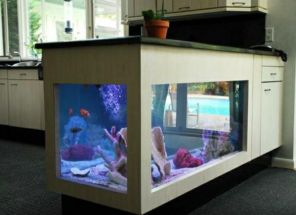 küchendesign ideen deko aquarium kücheninsel