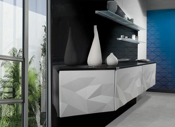 küchengestaltung weiß schwarz offene wandregale