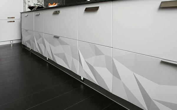 küchengestaltung weiße küchenschränke 3D oberfläche