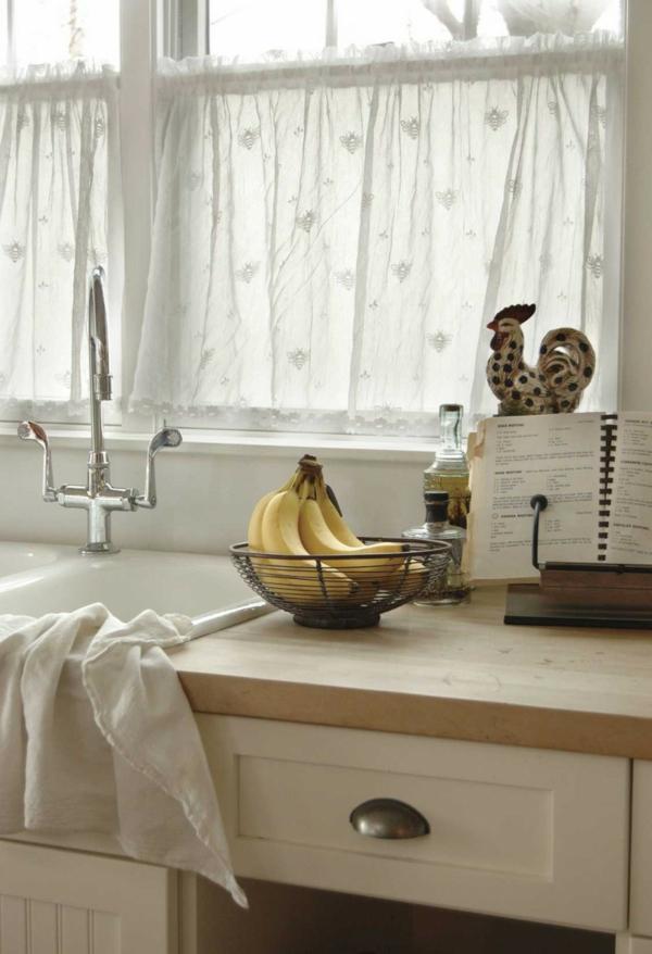 küchengardinen weiß luftig küche gestalten