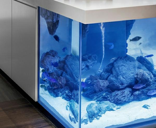 küchengestaltung dekoideen kücheninsel aquarium fische