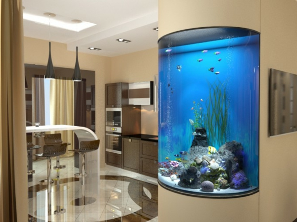 küchengestaltung ideen aquarium ausgefallene deko