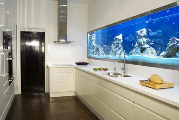 küchengestaltung ideen küchenrückwand gestalten aquarium