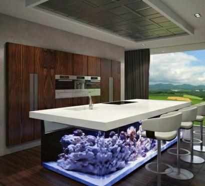 Wundervolles Kuchendesign Mit Aquarium Das Den Ozean Mit Sich Bringt