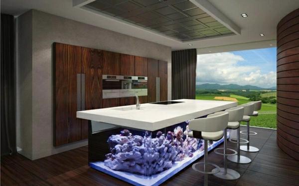 küchengestaltung küche aquarium integrieren