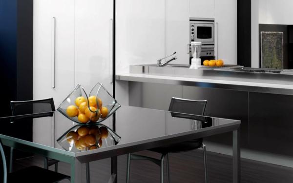 küchenplanung metallic farbe küchentisch tischdeko
