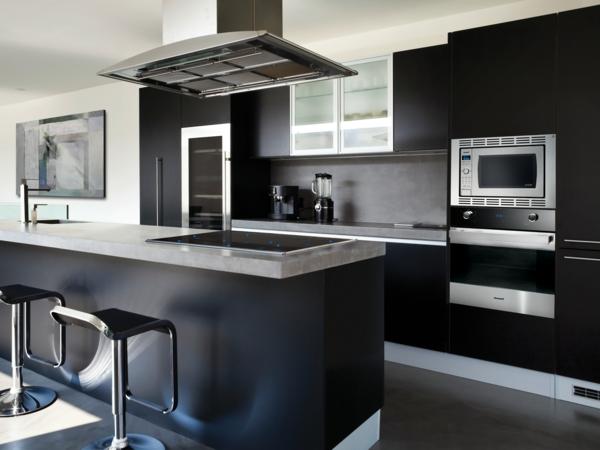 küchenplanung schwarze einrichtung metallic farbe