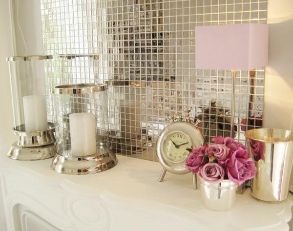 Küchenrückwand Ideen Mosaikfliesen Glänzende Oberfläche In Silber
