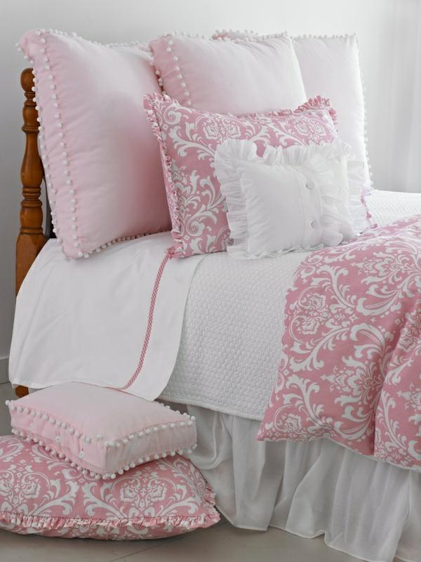 kinderbettwäsche mädchen rosa florale elemente