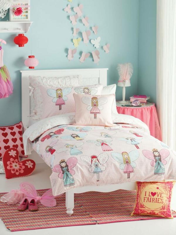 kinderbettwäsche mädchenzimmer dekokissen teppiche