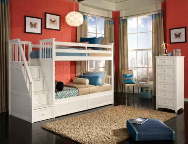 kinderzimmer einrichten hochbett design weiß ziegelwand