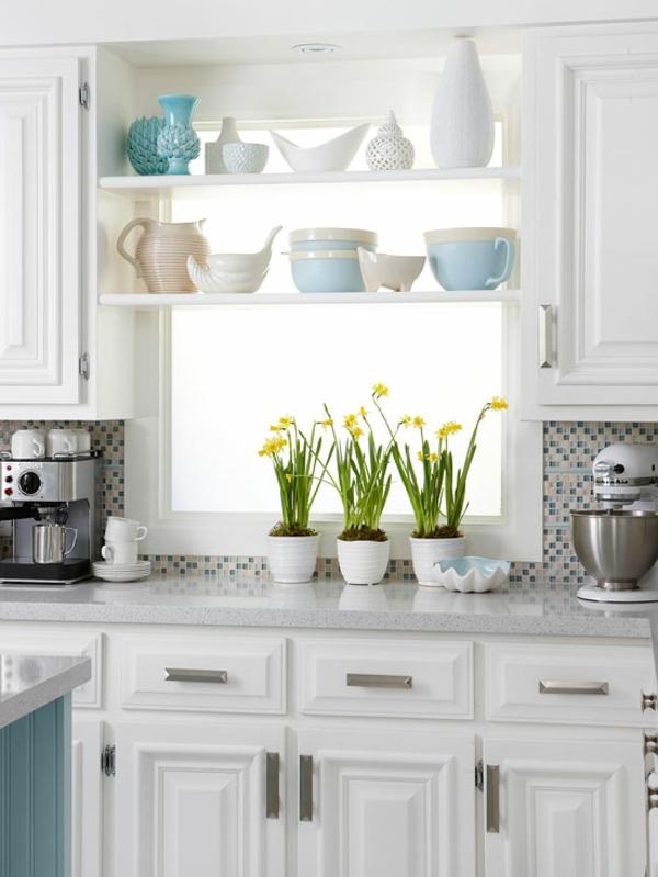 kleine küche einrichten einrichtungstipps geschirr regale