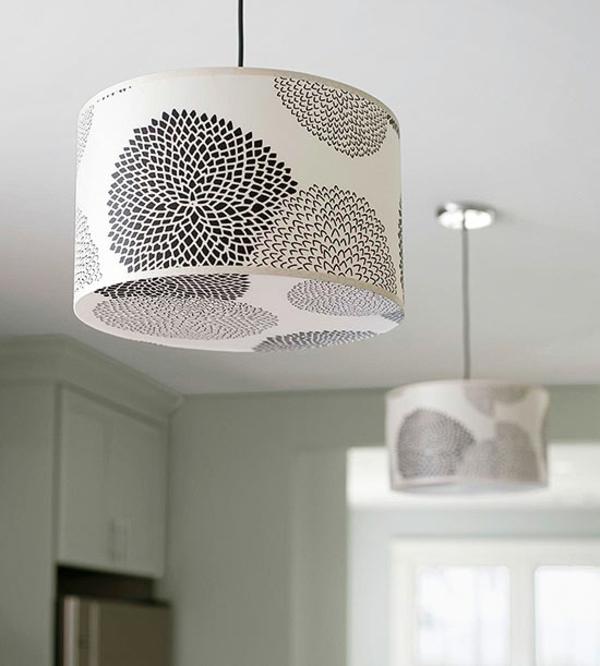 kleine küche einrichten einrichtungstipps pendelleuchten lampenschirm muster