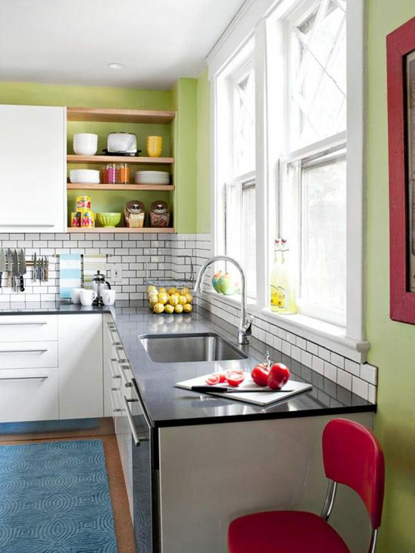 kleine küche einrichten einrichtungstipps wandfarbe grün