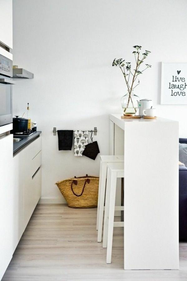 kleine küche einrichten küchenideen esstisch hocker