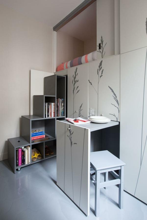 kleine wohnung einrichten eingebaute kücheninsel stühle